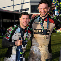 20130317 Copyright onEdition 2013©.Free for editorial use image, please credit: onEdition..Karl Dickson of Harlequins (left) celebrates with Tom Guest of Harlequins during the LV= Cup Final between Harlequins and Sale Sharks at Sixways Stadium on Sunday 17th March 2013 (Photo by Rob Munro)..For press contacts contact: Sam Feasey at brandRapport on M: +44 (0)7717 757114 E: SFeasey@brand-rapport.com..If you require a higher resolution image or you have any other onEdition photographic enquiries, please contact onEdition on 0845 900 2 900 or email info@onEdition.com.This image is copyright onEdition 2013©..This image has been supplied by onEdition and must be credited onEdition. The author is asserting his full Moral rights in relation to the publication of this image. Rights for onward transmission of any image or file is not granted or implied. Changing or deleting Copyright information is illegal as specified in the Copyright, Design and Patents Act 1988. If you are in any way unsure of your right to publish this image please contact onEdition on 0845 900 2 900 or email info@onEdition.com