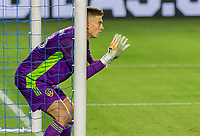 CARSON, CA - OCTOBER 14: Jonathan Klinsmann #33 GK of Los Angeles Galaxy yells out directions during a game between San Jose Earthquakes and Los Angeles Galaxy at Dignity Heath Sports Park on October 14, 2020 in Carson, California.