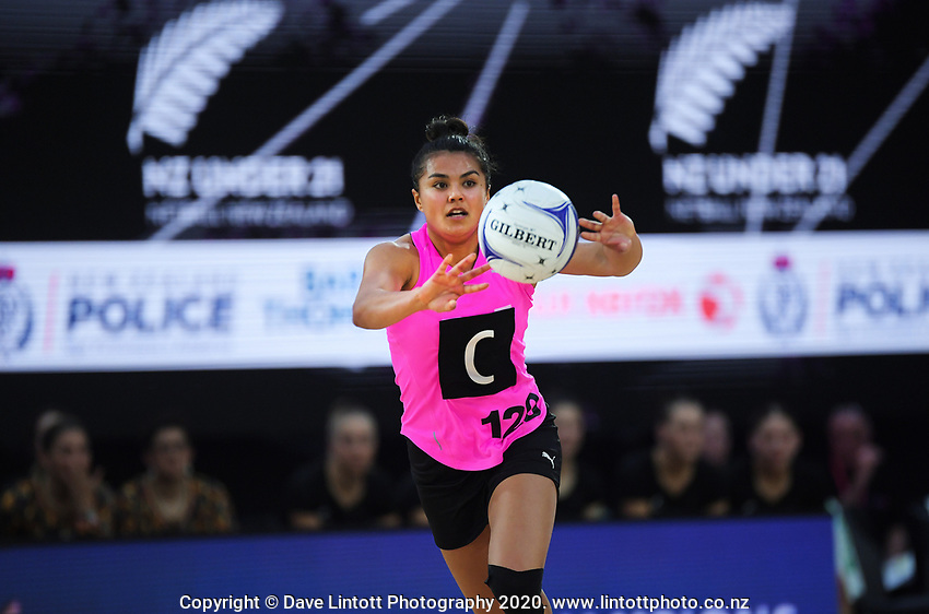 NZ A's Kimiora Poi in action during the Cadbury Netball Series match between NZ A and NZ Under-21 at the Fly Palmy Arena in Palmerston North, New Zealand on Thursday, 22 October 2020. Photo: Dave Lintott / lintottphoto.co.nz