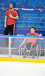 Sochi, RUSSIA - Mar 1 2014 -  Greg Westlake and Brad Bowden check out the rink before the 2014 Paralympics in Sochi, Russia.  (Photo: Matthew Murnaghan/Canadian Paralympic Committee)