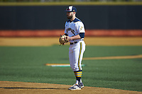 Quinnipiac Bobcats second baseman Ryan Nelson (8) on defense against the Radford Highlanders at David F. Couch Ballpark on March 4, 2017 in Winston-Salem, North Carolina. The Highlanders defeated the Bobcats 4-0. (Brian Westerholt/Four Seam Images)