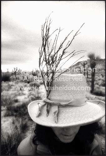 Marcey with a twig in her hat, Joshua Tree National Park, California<br />