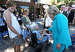 Democratic presidential nominee Hillary Clinton talks with Jennifer Snyder, 85, and her daughter Lisa during a campaign stop in Reno, Nev., on Thursday, Aug. 25, 2016. Cathleen Allison/Las Vegas Review-Journal