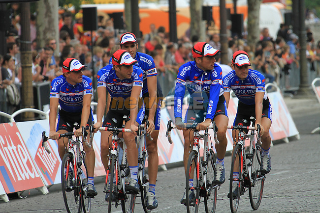 Quick-Step part of the team parade at the end of the final Stage 20 of the 2010 Tour de France running 102.5km from Longjumeau to Paris Champs-Elysees, France. 25th July 2010.<br /> (Photo by Eoin Clarke/NEWSFILE).<br /> All photos usage must carry mandatory copyright credit (© NEWSFILE | Eoin Clarke)