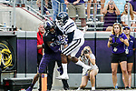 TCU Horned Frogs wide receiver Emanuel Porter (1)and Jackson State Tigers defensive back Ryan Theyard (28) in action during the game between the Jackson State Tigers and the TCU Horned Frogs at the Amon G. Carter Stadium in Fort Worth, Texas.
