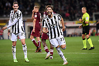 Manuel Locatelli of Juventus FC celebrates after scoring the goal of 0-1 during the Serie A 2021/2022 football match between Torino FC and Juventus FC at Stadio Olimpico Grande Torino in Turin (Italy), October 2nd, 2021. Photo Federico Tardito / Insidefoto