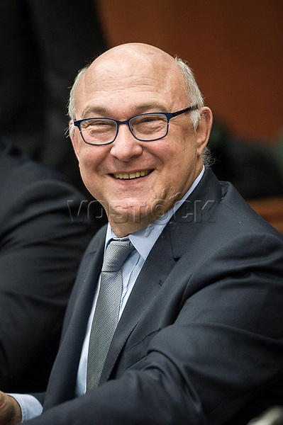 French Foreign Minister Michel Sapin  at the start of a Eurogroup with European Finance Ministers meeting at EU council headquarters in Brussels, Belgium on 26.01.2015 The Eurogroup's meeting focus on Greece, after  leftist anti-bailout party SYRIZA won parliamentary elections by Wiktor Dabkowski