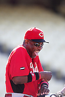 Cincinnati Reds manager Dusty Baker #12 before a game against the Los Angeles Dodgers at Dodger Stadium on June 14, 2011 in Los Angeles,California. (Larry Goren/Four Seam Images)