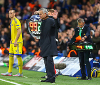 Jose Mourinho (Manager) of Chelsea acknolwedges the Chelsea supporters during the UEFA Champions League match between Chelsea and Maccabi Tel Aviv at Stamford Bridge, London, England on 16 September 2015. Photo by David Horn.