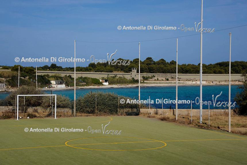 Isola di Pianosa.Pianosa Island.Pianosa. Il borgo.Village.Il campo di calcio.