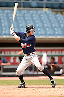 Christopher Cullen (9) of West Forsyth High School in Cumming, Georgia playing for the Atlanta Braves scout team during the East Coast Pro Showcase on August 2, 2014 at NBT Bank Stadium in Syracuse, New York.  (Mike Janes/Four Seam Images)