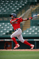 Boston Red Sox Antoni Flores (15) follows through on a swing during a Florida Instructional League game against the Baltimore Orioles on October 8, 2018 at the Ed Smith Stadium in Sarasota, Florida.  (Mike Janes/Four Seam Images)