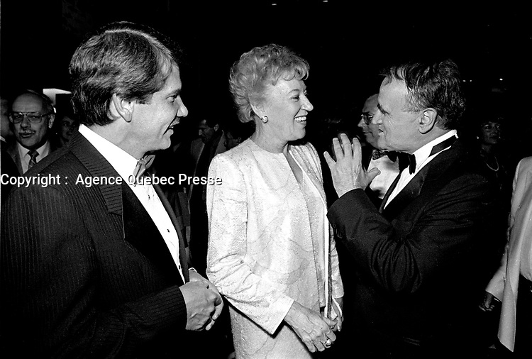 Flora McDonald, Canadian Minister of Communications  (M) and Serge Losique (R) attend the opening of the  (Montreal) World Film Festival on August 21, 1987.<br /> <br /> File Photo : Agence Quebec Presse - Pierre Roussel