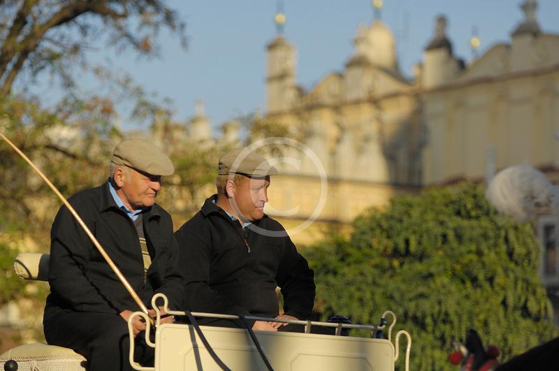 Poland, Krakow, Horse carriage drivers, Rynek Glowny, Grand Square,