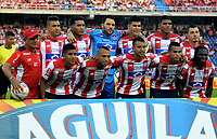 BARRANQUILLA - COLOMBIA - 03 - 12 - 2017: Los jugadores de Atletico Junior, posan para una foto, durante partido de vuelta de los cuartos de final entre Atletico Junior y America de Cali por la Liga Aguila II - 2017, jugado en el estadio Metropolitano Roberto Melendez de la ciudad de Barranquilla. / The players of Atletico Junior, pose for a photo, during a match of the of the second leg of the quarter of finals between Atletico Junior and America de Cali for the Liga Aguila II - 2017 at the Metropolitano Roberto Melendez Stadium in Barranquilla city, Photo: VizzorImage / Alfonso Cervantes / Cont.