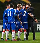 26.02.2020 SC Braga v Rangers: Steven Gerrard with his players at full time