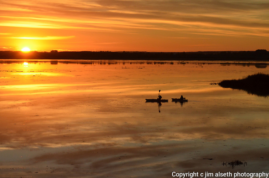 Sunset at Big Lake Alberta on a glassy calm evening.