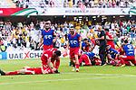 The Jordan team celebrates winning after the AFC Asian Cup UAE 2019 Group B match between Australia (AUS) and Jordan (JOR) at Hazza Bin Zayed Stadium on 06 January 2019 in Al Ain, United Arab Emirates. Photo by Marcio Rodrigo Machado / Power Sport Images