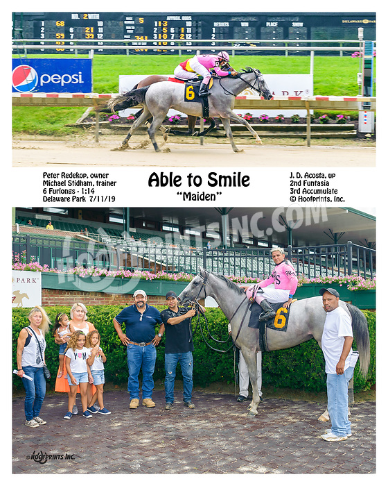 Able To Smile winning at Delaware Park on 7/11/19