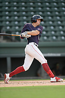 Right fielder Tyler Esplin (25) of the Greenville Drive bats in a game against the Delmarva Shorebirds on Friday, August 2, 2019, in the continuation of rain-shortened game begun August 1, at Fluor Field at the West End in Greenville, South Carolina. Delmarva won, 8-5. (Tom Priddy/Four Seam Images)