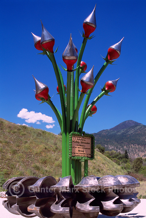 Folk Art Sculpture, Lillooet, BC, British Columbia, Canada - Recycled Pelton Wheel and Steel Metal Parts