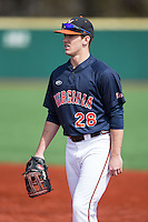 Kevin Doherty (28) of the Virginia Cavaliers during infield practice prior to the game against the Hartford Hawks at The Ripken Experience on February 27, 2015 in Myrtle Beach, South Carolina.  The Cavaliers defeated the Hawks 5-1.  (Brian Westerholt/Four Seam Images)