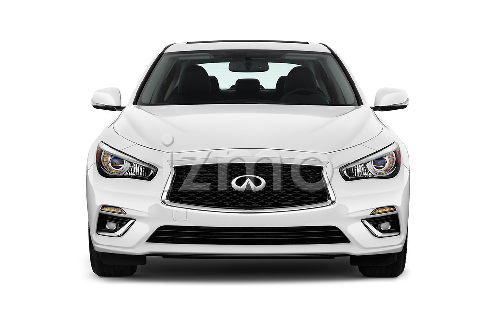 Car photography straight front view of a 2018 Infiniti Q50 LUXE 4 Door Sedan Front View