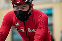 Caleb Ewan (AUS/Lotto-Soudal) at the rained down race start in Biella<br /> <br /> 104th Giro d'Italia 2021 (2.UWT)<br /> Stage 3 from Biella to Canale (190km)<br /> <br /> ©kramon