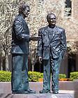 April 16, 2020; Statues of Rev. Edmund Joyce, C.S.C. and Rev. Theodore Hesburgh, C.S.C. (Photo by Matt Cashore/University of Notre Dame)