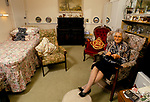 Residential Care Home for the elderly Watermoor House Cirencester Gloucestershire UK. 1990s. Resident in her own room.