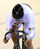 Southland's Eddie Dawkins in the team sprint at the BikeNZ Elite & U19 Track National Championships, Avantidrome, Home of Cycling, Cambridge, New Zealand, Sunday, March 16, 2014. Credit: Dianne Manson