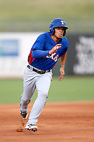 Luis Mendez #38 of the AZL Rangers runs the bases during a game against the AZL Royals at Surprise Stadium on July 15, 2013 in Surprise, Arizona. AZL Rangers defeated the AZL Royals, 3-2. (Larry Goren/Four Seam Images)