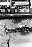 1967 FILE PHOTO - ARCHIVES -<br /> <br /> Gondola of centuries-old design floats serenely beneath ultramodern minirail; contrast in Expo transportation. Hovercraft; pedicabs; sampans; are other choices.<br /> <br /> 1967<br /> <br /> PHOTO : Boris Spremo - Toronto Star Archives - AQP