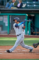 Robert Perez (2) of the Tacoma Rainiers bats against the Salt Lake Bees at Smith's Ballpark on May 27, 2019 in Salt Lake City, Utah. The Bees defeated the Rainiers 5-0. (Stephen Smith/Four Seam Images)
