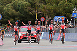 Lotto-Soudal riders celebrate as they cross the line after their team mate Caleb Ewan (AUS) wins Stage 7 of the 2021 Giro d'Italia, running 181km from Notaresco to Termoli, Italy. 14th May 2021.  <br /> Picture: LaPresse/Massimo Paolone | Cyclefile<br /> <br /> All photos usage must carry mandatory copyright credit (© Cyclefile | LaPresse/Massimo Paolone)