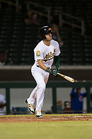 Mesa Solar Sox right fielder Skye Bolt (10), of the Oakland Athletics organization, follows through on his swing during an Arizona Fall League game against the Scottsdale Scorpions at Sloan Park on October 10, 2018 in Mesa, Arizona. Scottsdale defeated Mesa 10-3. (Zachary Lucy/Four Seam Images)