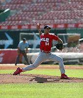 Sandy Gaston participates in the MLB Showcase at the Estadio Quisqeye Juan Marichal on February 21-22, 2018 in Santo Domingo, Dominican Republic.