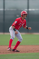 Cincinnati Reds shortstop Miguel Hernandez (7) during a Minor League Spring Training game against the Los Angeles Angels at the Cincinnati Reds Training Complex on March 15, 2018 in Goodyear, Arizona. (Zachary Lucy/Four Seam Images)