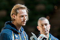 Melbourne, 14 August 2015 - Brad Newley of the Australian Boomers men's basketball team speaks to the media at a press conference on the eve of the game one of the 2015 FIBA Oceania Championships at Rod Laver Arena in Melbourne, Australia. (Photo Sydney Low / sydlow.com)