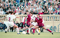 SAN JOSE, CA - MAY 09: Julie Foudy # 11 and Mia Ham # 9 during a game between England and USWNT at Spartan Stadium on May 09, 1997 in San Jose, California.
