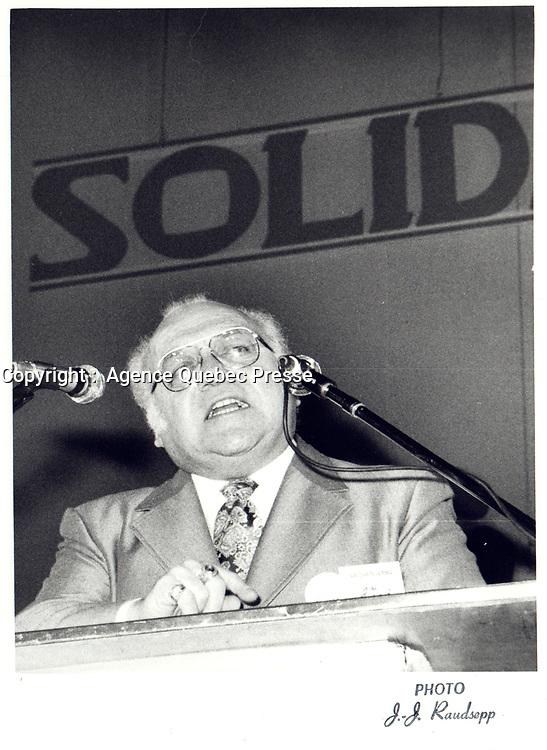 Le President de la FTQ Louis Laberge,<br />  le 7 Decembre 1980<br /> <br /> <br /> PHOTO : Agence Quebec Prese