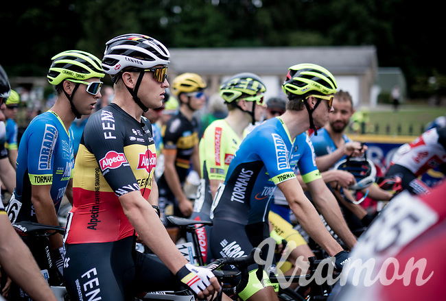 Belgian National Champion Tim Merlier (BEL/Alpecin-Fenix) at the start of the inaugural GP Vermarc 2020, which is the very first pro cycling race in Belgium after the covid19 lockdown of Spring 2020 & which was only set up some weeks in advance to accommodate belgian teams by providing racing opportunities asap after the lockdown allowed for racing to restart (but still under strict quarantine / social distancing measures for the public, riders & press)<br /> <br /> Rotselaar (BEL), 5 july 2020<br /> ©kramon