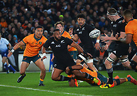 NZ's George Bower passes to Brodie Retallick during the Bledisloe Cup rugby match between the New Zealand All Blacks and Australia Wallabies at Eden Park in Auckland, New Zealand on Saturday, 7 August 2021. Photo: Dave Lintott / lintottphoto.co.nz