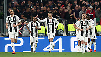 Football Soccer: UEFA Champions UEFA Champions League quarter final second leg Juventus - Ajax, Allianz Stadium, Turin, Italy, March 12, 2019. <br /> Juventus' Cristiano Ronaldo (c) celebrates after scoring with his teammates during the Uefa Champions League football match between Juventus and Ajax  at the Allianz Stadium, on March 12, 2019.<br /> UPDATE IMAGES PRESS/Isabella Bonotto