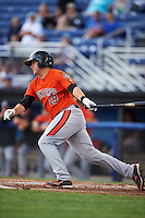 Aberdeen IronBirds catcher Jerry McClanahan (19) at bat during a game against the Batavia Muckdogs on July 15, 2016 at Dwyer Stadium in Batavia, New York.  Aberdeen defeated Batavia 4-2.  (Mike Janes/Four Seam Images)