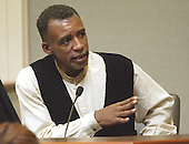Felix Strozier Jr. of Tacoma, Wash., testifies during the penalty phase of the trial of convicted sniperJohn Allen Muhammad in Virginia Beach Circuit Court in Virginia Beach, Virginia on November 19, 2003.<br /> Credit: Tracy Woodward - Pool via CNP