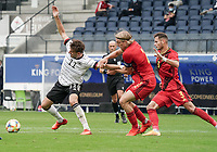 Germany's mergim Berisha (11) and Belgium's captain Sebastiaan Bornauw (2) battle for the ball during a soccer game between the national teams Under21 Youth teams of Belgium and Germany on the 5th matday in group 9 for the qualification for the Under 21 EURO 2021 , on tuesday 8 th of September 2020  in Leuven , Belgium . PHOTO SPORTPIX.BE | SPP | SEVIL OKTEM