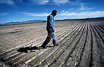 "Callao,Utah--9/7/2005--.Cecil Garland, 80, walks through one of his fields on his ranch in Callao. Callao is located in the west desert of the county, near the Nevada border, and according to Garland is ""90 miles from any road that will take you anywhere."" .<br />"