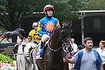 Newsdad with Junior Alvarado  in the 54th running of the Grade 2 Bowling Green Handicap for 3-year olds going 1 1/4 mile on the turf.