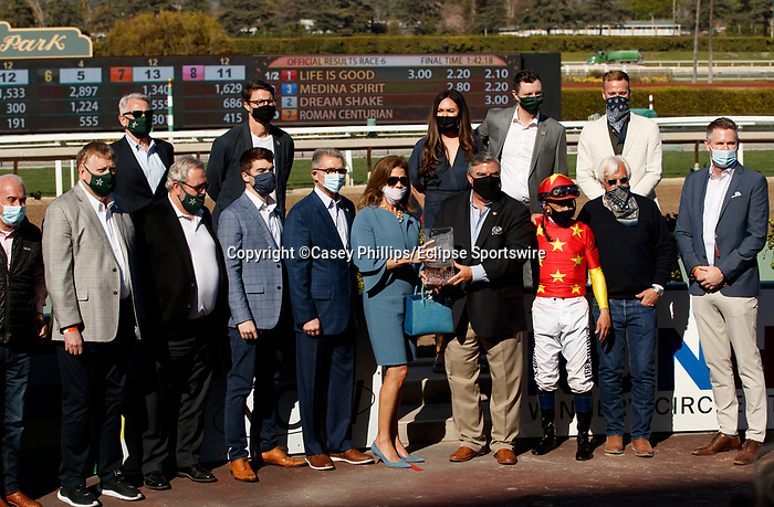 ARCADIA, CA  MARCH 6:  #1 Life is Good, ridden by Mike Smith and connections in winners circle after winning the San Felipe Stakes (Grade ll) on March 6, 2021 at Santa Anita Park in Arcadia, CA.  (Photo by Casey Phillips/EclipseSportswire/CSM)